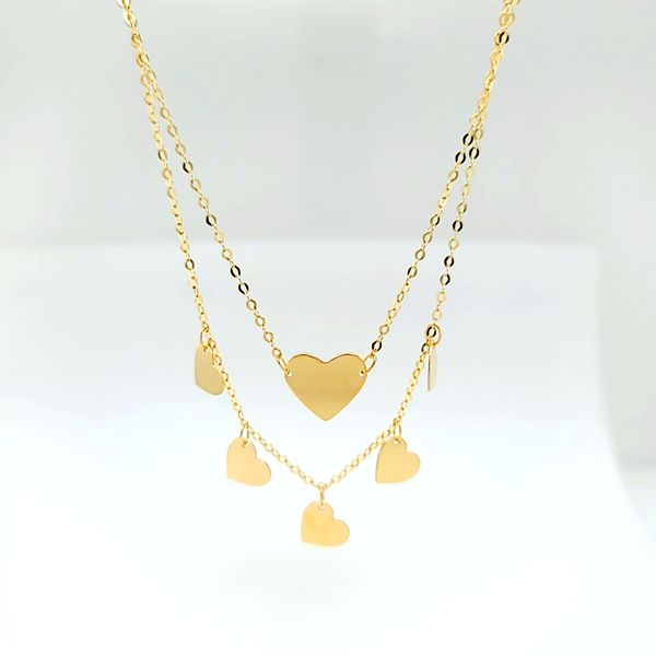 14k Yellow Gold Layered Heart Necklace Arezzo Jewelers Chicago, IL