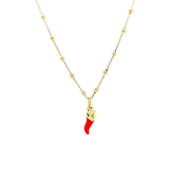 18k Yellow Gold Italian Horn And Heart Necklace. Image 2 Arezzo Jewelers Chicago, IL