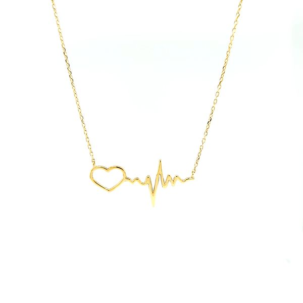 14k Yellow Gold Heartbeat Necklace. Arezzo Jewelers Chicago, IL
