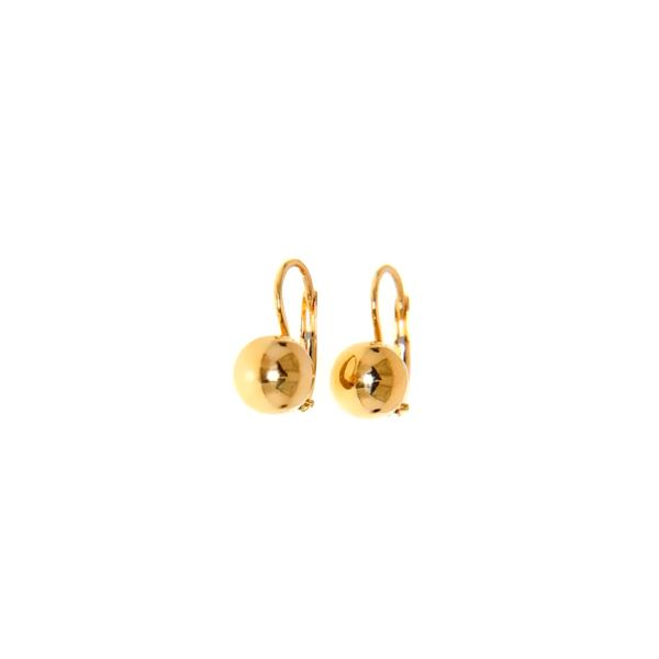18k Yellow Gold Leverback Ball Earrings, 8mm Arezzo Jewelers Chicago, IL