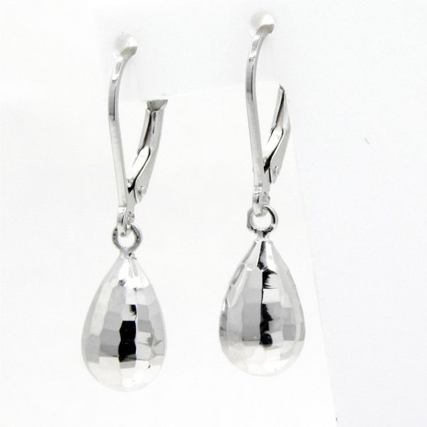 14k White Gold Faceted Tear Drop Earrings Arezzo Jewelers Chicago, IL