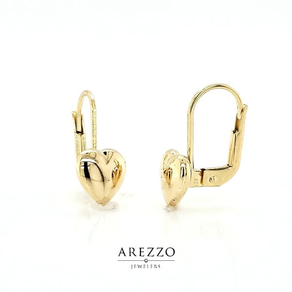14k Yellow Gold Heart Leverback Earrings Arezzo Jewelers Chicago, IL