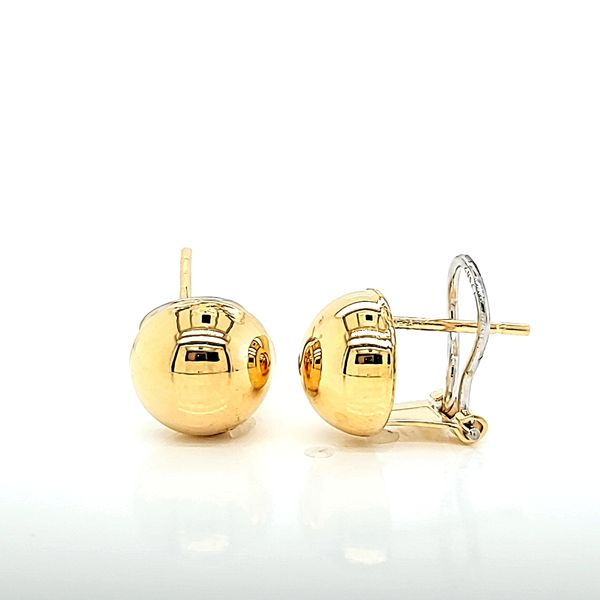 18k Yellow Gold Omega Back 10mm Ball Earrings Arezzo Jewelers Chicago, IL