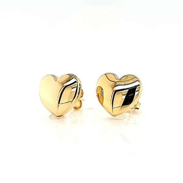 14k Yellow Gold Big Heart Stud Earrings Image 2 Arezzo Jewelers Chicago, IL