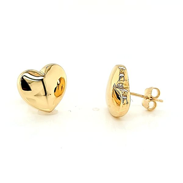 14k Yellow Gold Big Heart Stud Earrings Image 3 Arezzo Jewelers Chicago, IL