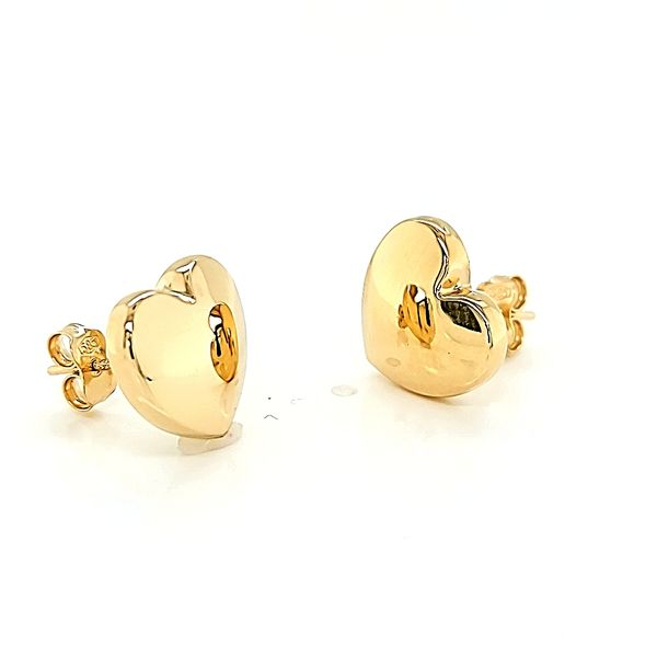 14k Yellow Gold Big Heart Stud Earrings Image 4 Arezzo Jewelers Chicago, IL