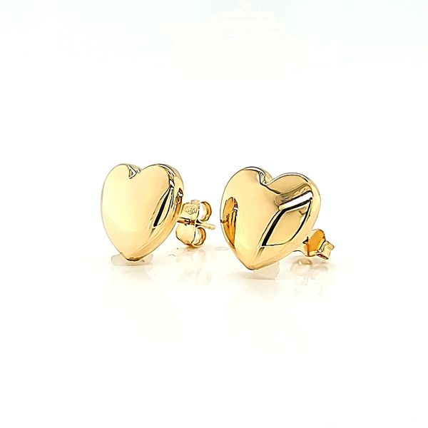 14k Yellow Gold Big Heart Stud Earrings Arezzo Jewelers Chicago, IL
