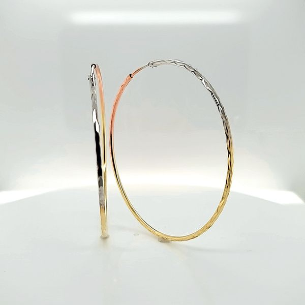 14K Tri Color Gold Endless Hoops Earrings, 2.5