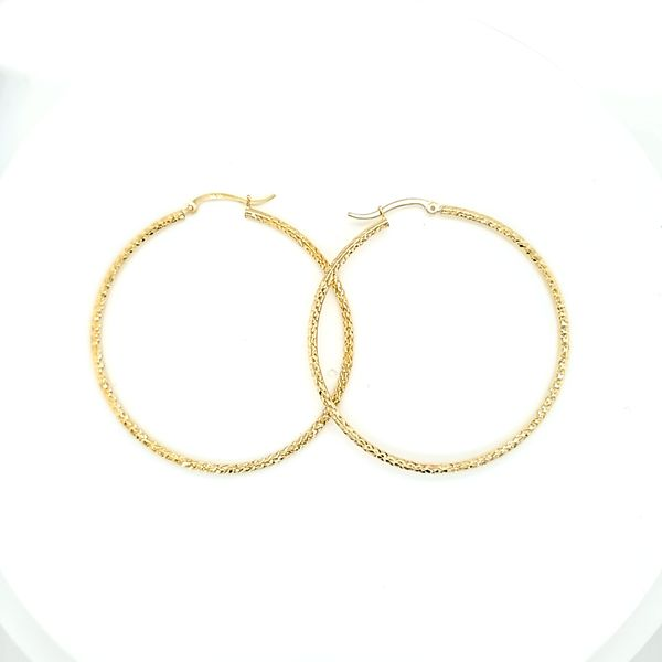 10 Karat Yellow Gold Diamond Cut Hoop Gold Earrings, 2
