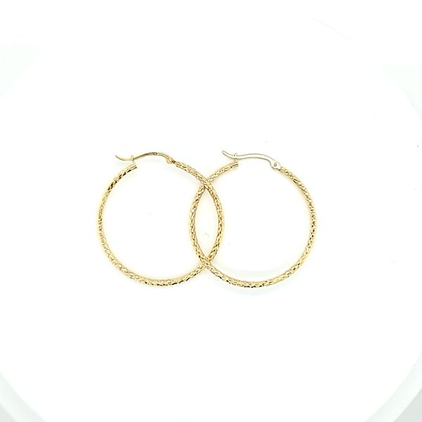 10 Karat Yellow Gold Diamond Cut Hoop Gold Earrings, 1.5