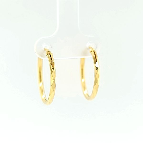 14k Yellow Gold 21mm Faceted Hoop Gold Earrings Arezzo Jewelers Elmwood Park, IL