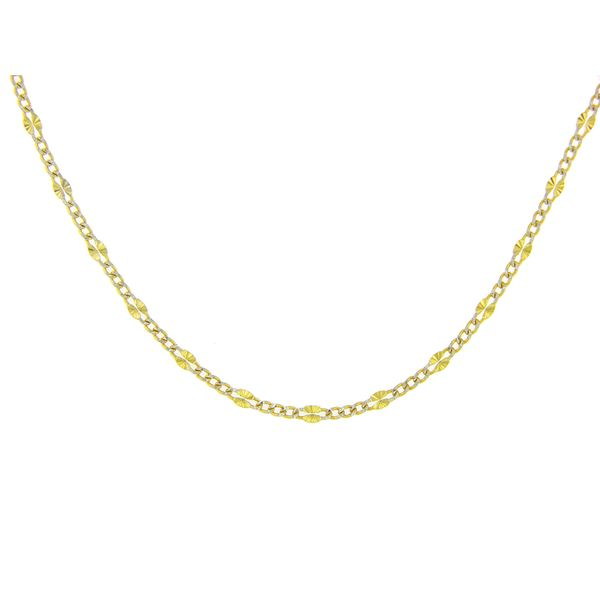 14k Two Tone Fancy Curb Chain - 18