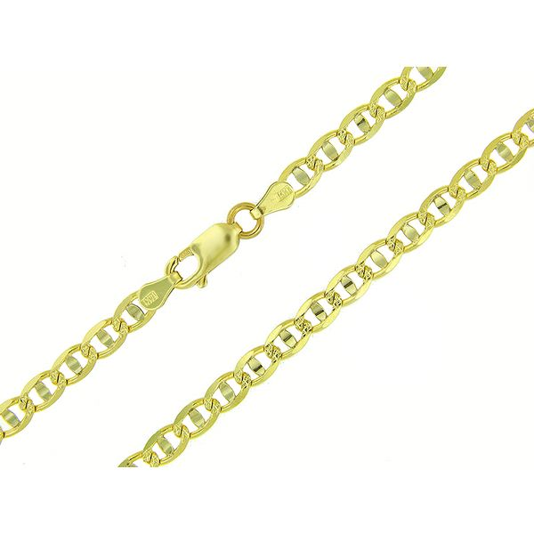 14K Two-Tone Diamond Cut Gold Anchor Chain - 24
