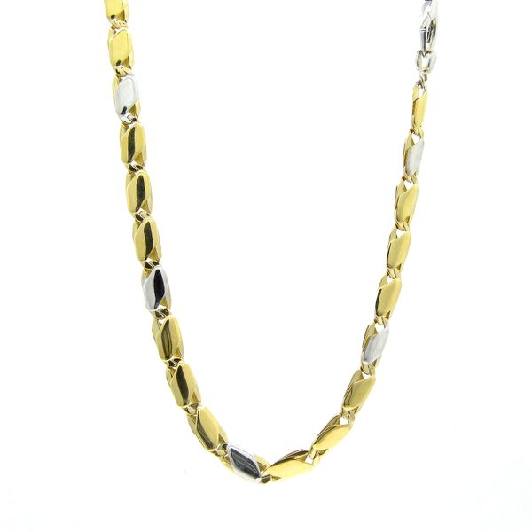 18k Two Tone Fancy Link Chain - 24