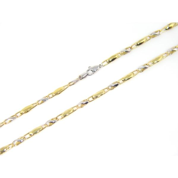 18k Two Tone Gold Fancy Link Chain - 24