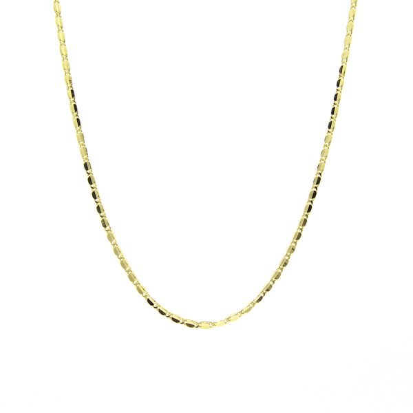 18k Yellow Gold Flat Link Pendant Chain Arezzo Jewelers Chicago, IL