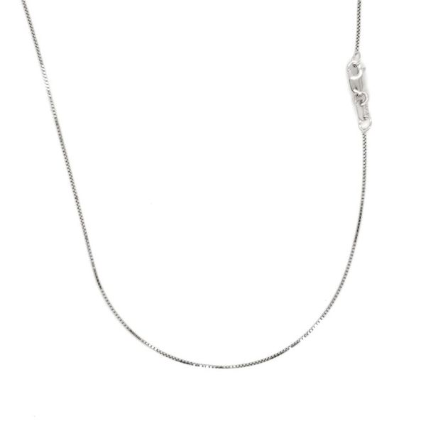 14k White Gold Thin Box Chain, 18