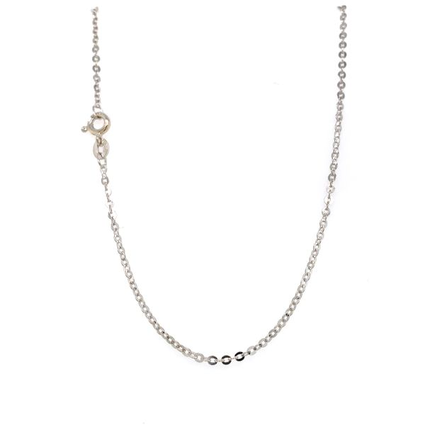 18k White Gold Cable Link Chain, 24