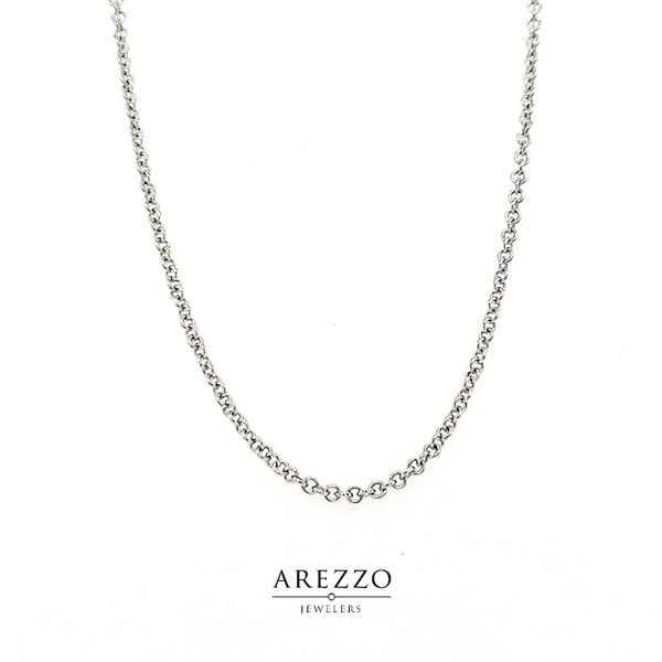 14k White Gold Rolo Chain Arezzo Jewelers Chicago, IL