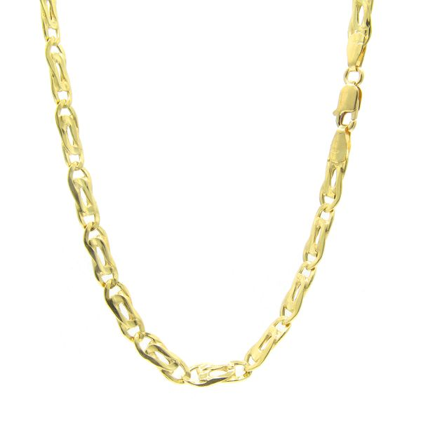 18k Yellow Gold Tiger Eye Link Chain - 24