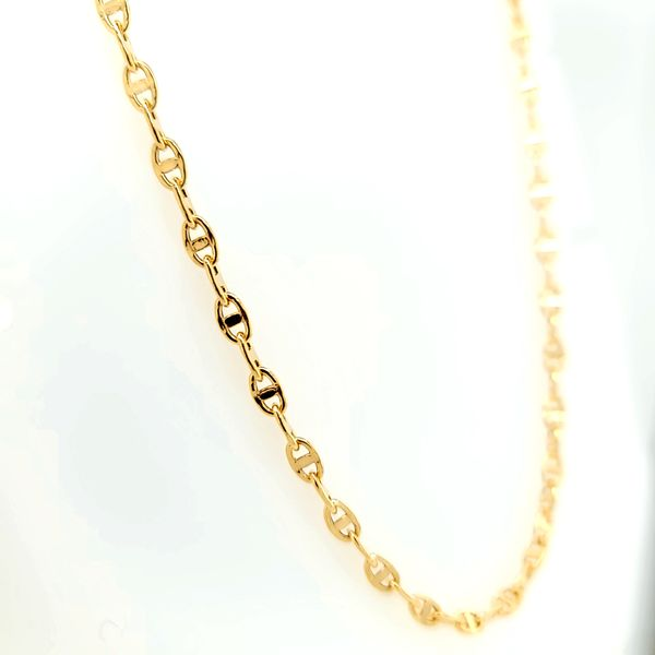 18k Yellow Gold Solid Anchor Cable Link Chain, 20