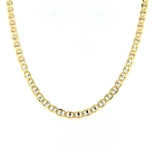 14k Two-Tone 3.5mm Diamond-Cut Gucci Link Chain Arezzo Jewelers Elmwood Park, IL