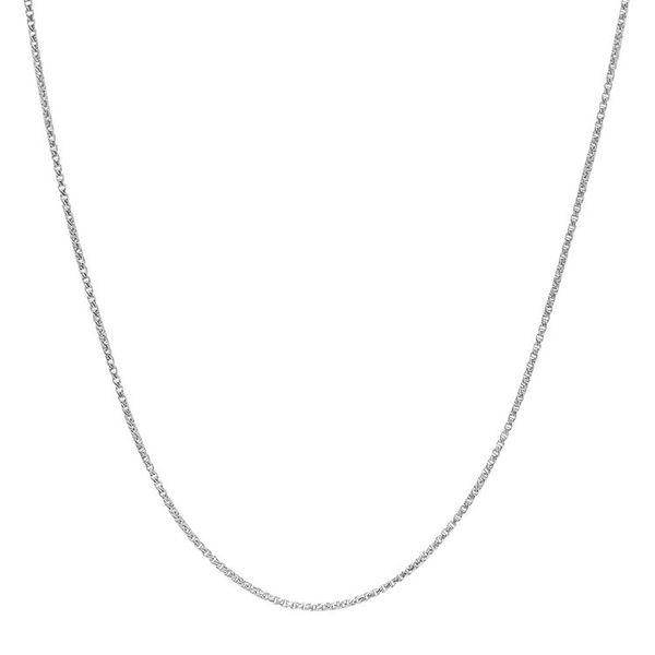 14k White Gold Thin Box Chain, 24