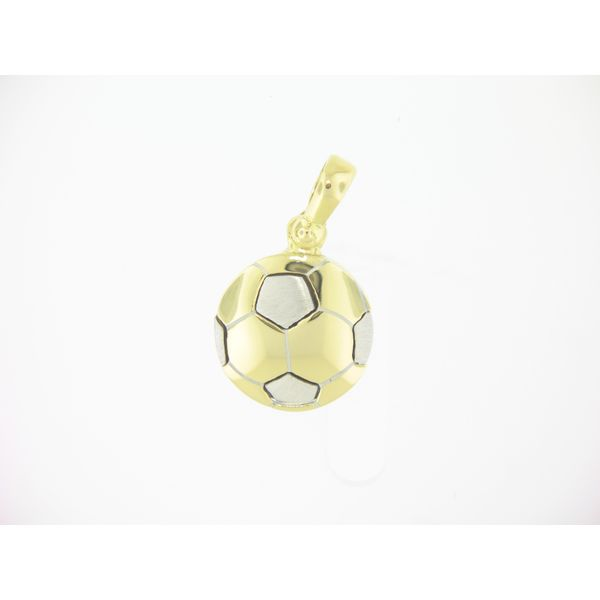 18k Two Tone - White & Yellow Gold - Soccer Ball Pendant Arezzo Jewelers Chicago, IL