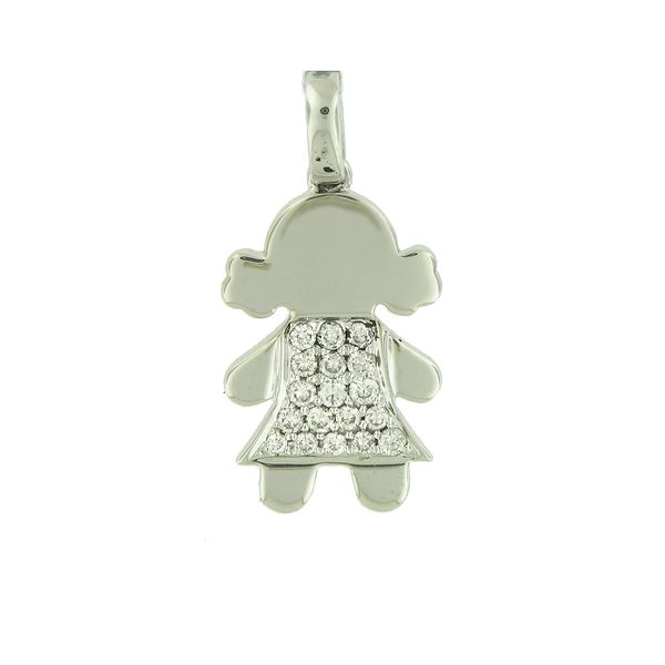 18k White Gold Diamond Little Girl Charm Arezzo Jewelers Chicago, IL