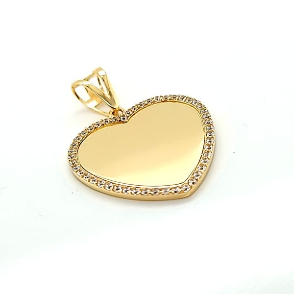 10k Yellow Gold Engraveable CZ Heart Gold Memorial Charm Image 2 Arezzo Jewelers Chicago, IL