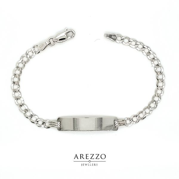 14k White Gold Children's ID Curb Bracelet Arezzo Jewelers Chicago, IL