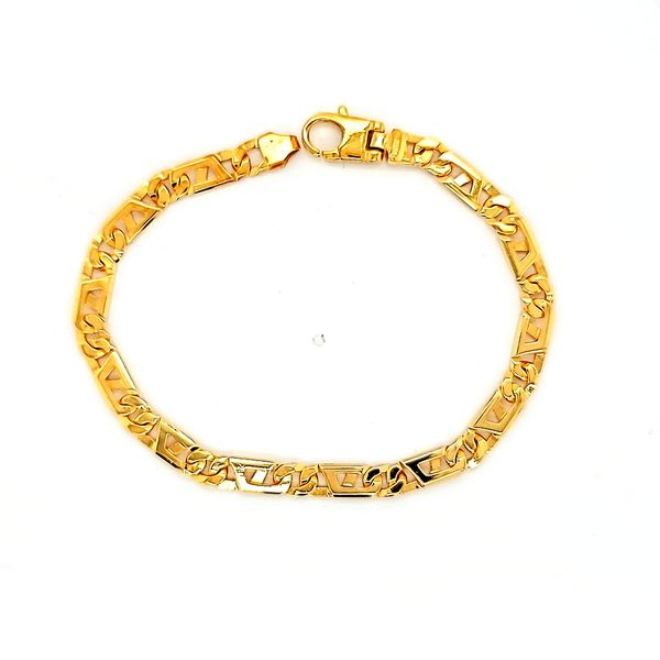 14k Yellow Gold 5mm Fancy Link Bracelet - 7.75