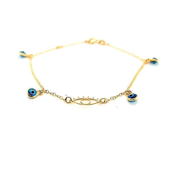 14k Yellow Gold Evil Eye Gold Bracelet Image 2 Arezzo Jewelers Chicago, IL