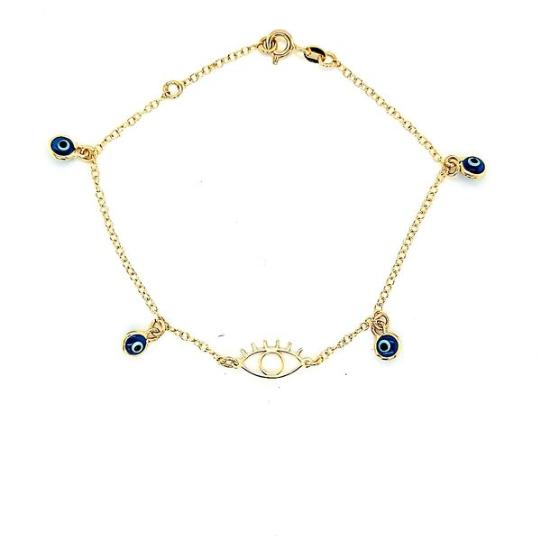 14k Yellow Gold Evil Eye Gold Bracelet Arezzo Jewelers Chicago, IL
