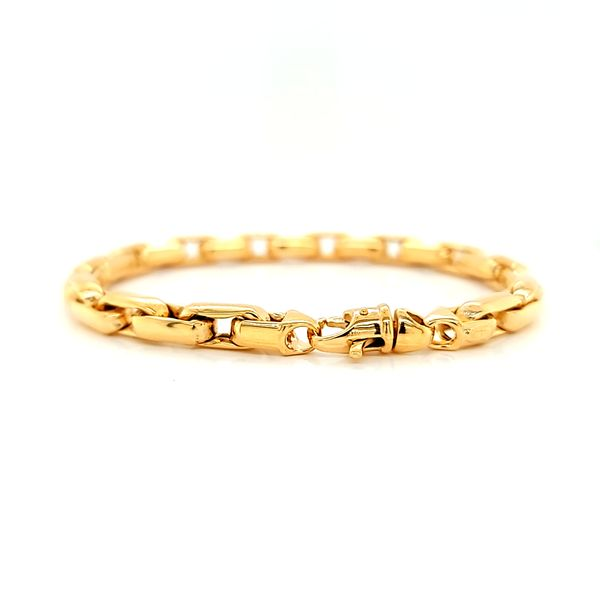 14k Yellow Gold Fancy Box Link Bracelet Image 2 Arezzo Jewelers Chicago, IL