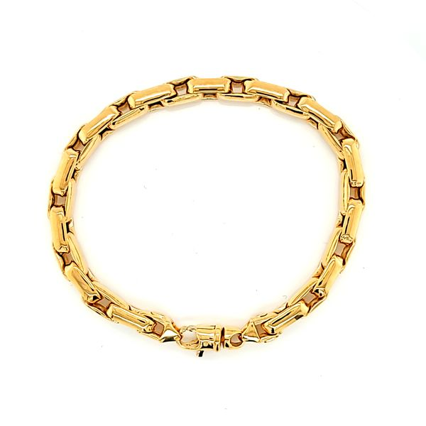 14k Yellow Gold Fancy Box Link Bracelet Arezzo Jewelers Chicago, IL