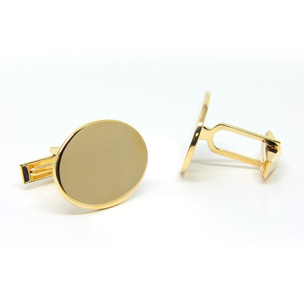 14k Yellow Gold Oval Cufflinks Image 2 Arezzo Jewelers Chicago, IL