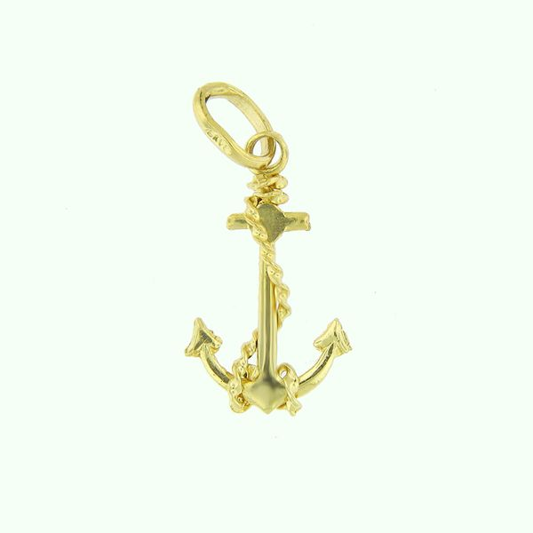 14k Yellow Gold Anchor Medal Arezzo Jewelers Chicago, IL