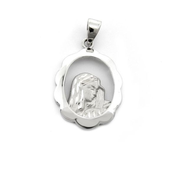 14k White Gold Mary Oval Open Mary Medal Arezzo Jewelers Chicago, IL