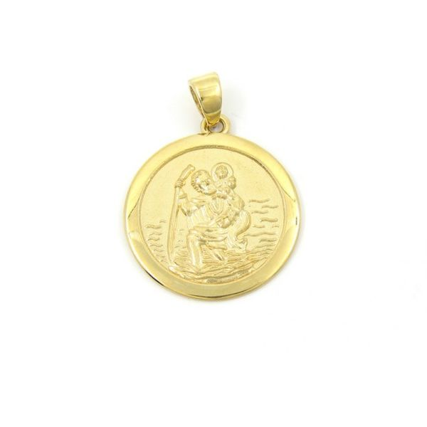 14k Yellow Gold St. Christopher Gold Medal, 18mm Arezzo Jewelers Chicago, IL