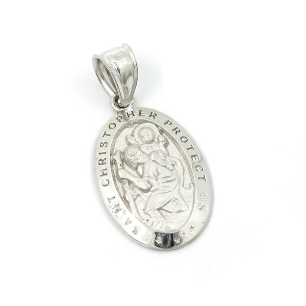 14K  white gold St. Christopher Medal, Oval Arezzo Jewelers Chicago, IL