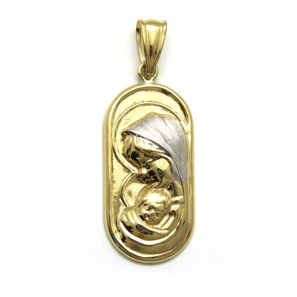 14k Yellow Gold Mother & Child Medal Arezzo Jewelers Chicago, IL