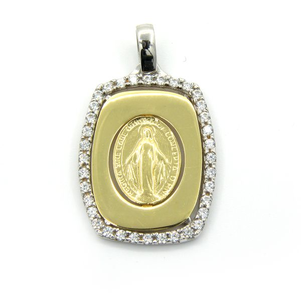 18k Yellow Gold Miraculous Mary Medal Arezzo Jewelers Chicago, IL