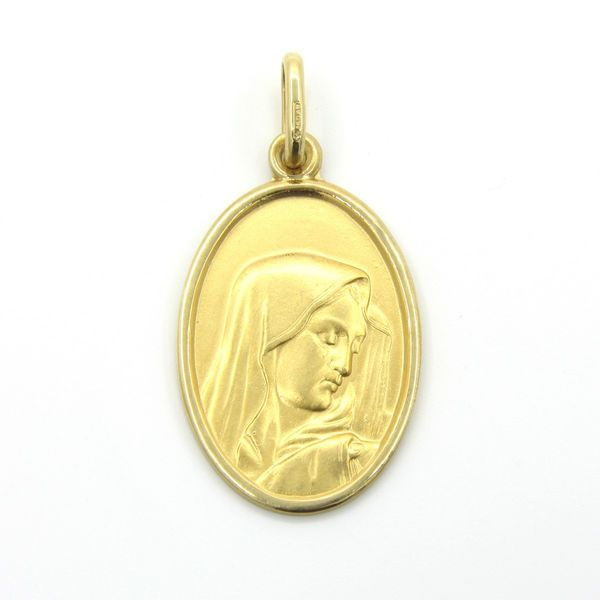18k Gold Oval Virgin Mary Medal Arezzo Jewelers Chicago, IL