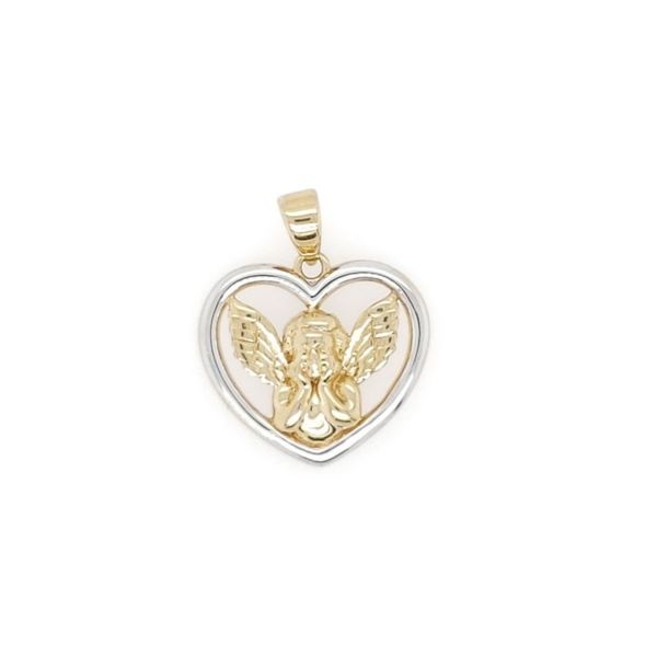 14k Two Town Gaurdian Angel Open Heart Medal Arezzo Jewelers Chicago, IL