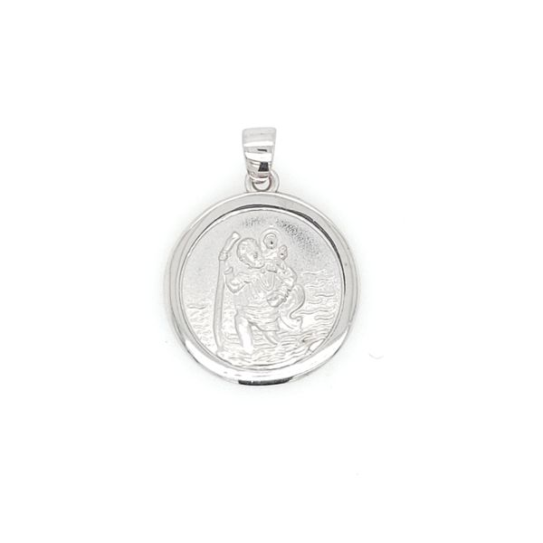 14k White Gold St. Christopher Medal Arezzo Jewelers Chicago, IL