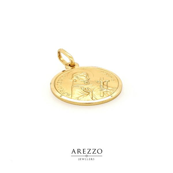 18K Yellow Gold St. Francesco Di Assisi Medal Image 2 Arezzo Jewelers Chicago, IL