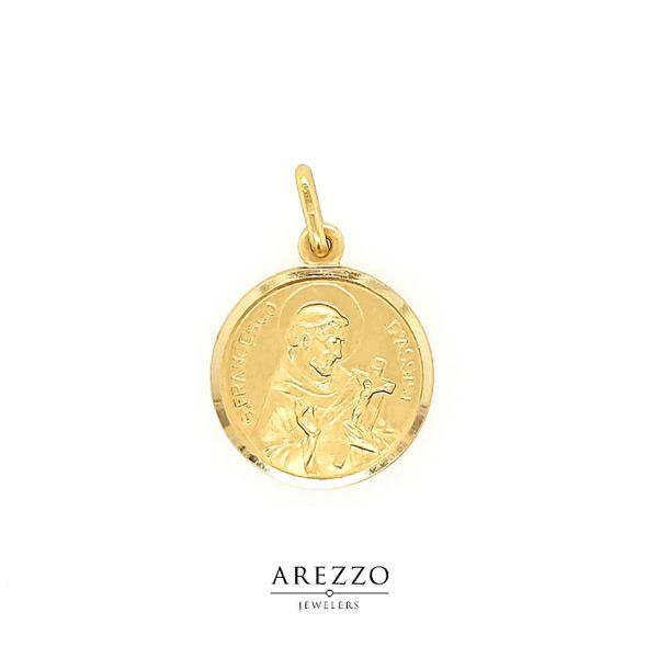 18K Yellow Gold St. Francesco Di Assisi Medal Arezzo Jewelers Chicago, IL