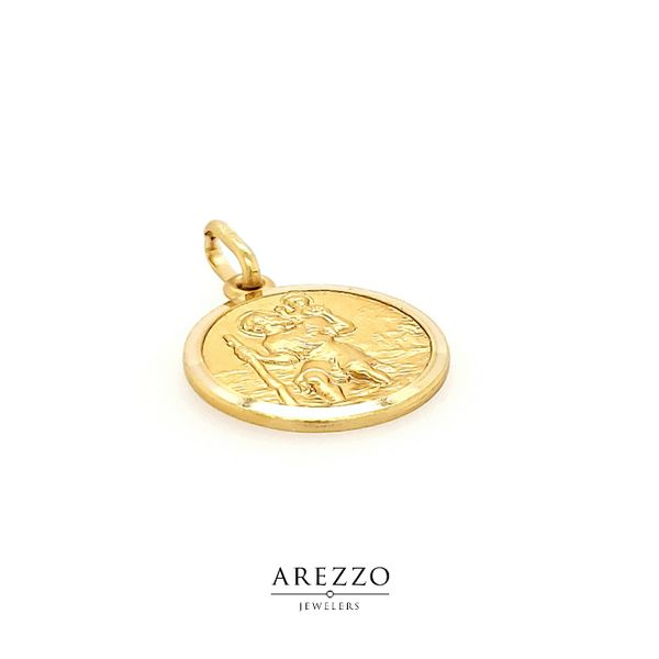 18k Yellow Gold St. Christopher Medal Image 2 Arezzo Jewelers Chicago, IL