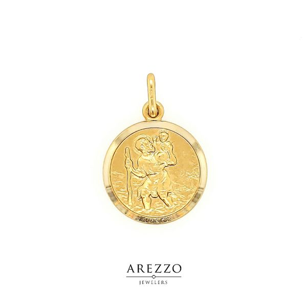 18k Yellow Gold St. Christopher Medal Arezzo Jewelers Chicago, IL